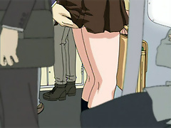 Anime dickgirl massaging Shinji as getting fucked